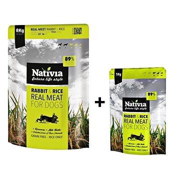 Nativia Real Meat - Rabbit & Rice 8 kg + 1 kg - Granule pro psy