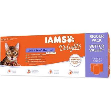 Kapsičky IAMS mořské a suchozem. maso v omáčce multipack 4080 g - Kapsička pro kočky