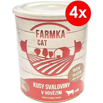 FARMKA CAT 800 g se svalovinou, 4 ks - Konzerva pro kočky