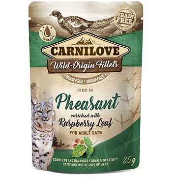 Carnilove Cat Pouch Rich in Pheasant Enriched with Raspberry Leaves 85 g - Kapsička pro kočky