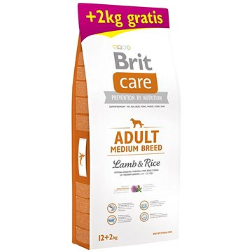 Brit Care Adult Medium Breed Lamb & Rice 12 + 2 kg - Granule pro psy