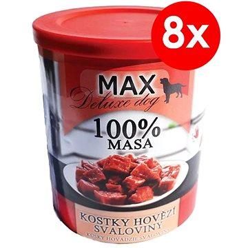 MAX deluxe kostky hovězí svaloviny 800 g, 8 ks - Konzerva pro psy