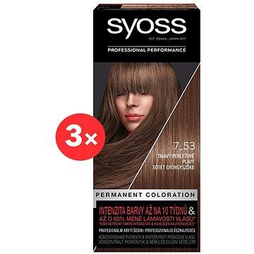 SYOSS Color 7-53 Tmavý perleťově plavý 3 × 50 ml - Barva na vlasy