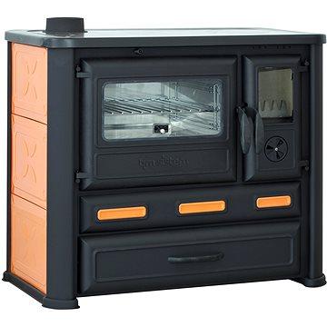 TIM SISTEM Sporák Alma Mons oranžový, levý, 8kW  - Sporák na tuhá paliva