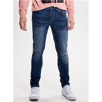 ONLY & SONS Modré slim džíny s vyšisovaným efektem Loom M 32/32 - Džíny
