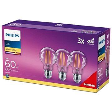 Philips LED classic 7-60W, E27 2700K, 3ks - LED žárovka