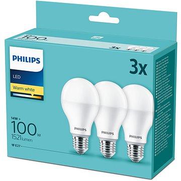 Philips LED 14-100W, E27 2700K, 3ks - LED žárovka
