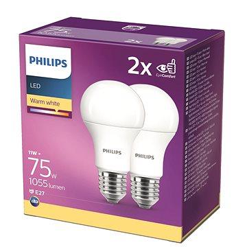 Philips LED 11-75W, E27 2700K, 2ks - LED žárovka