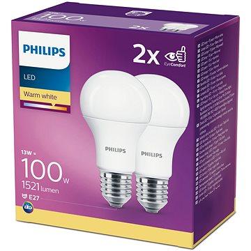 Philips LED 13-100W, E27 2700K, 2ks - LED žárovka