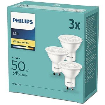 Philips LED 4.7-50W, GU10 2700K, 3ks - LED žárovka