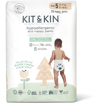 Kit & Kin Eko Nappy Pants Naturally Dry vel. 5 (20 ks) - Eko plenkové kalhotky