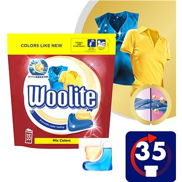 WOOLITE COLOR Keratin XL 2in1 35 ks - Kapsle na praní