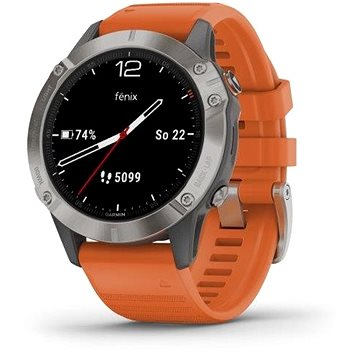 Garmin Fenix 6 Pro Sapphire Titanium/Orange Band - Chytré hodinky