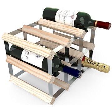 RTA stojan na 9 lahví vína, přírodní borovice - pozinkovaná ocel / rozložený  - Regál na víno