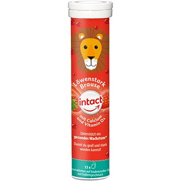 Intact Silný lev, vápník+vit. D3, šum. tbl. Jahoda 15 ks - Vitamín D