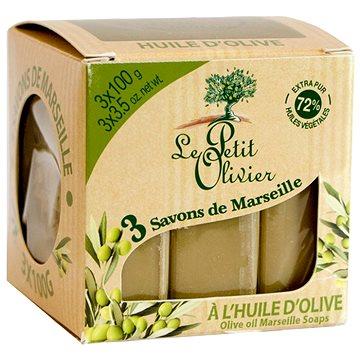 LE PETIT OLIVIER Olive Oil Marseille Soaps 3× 100 g - Tuhé mýdlo