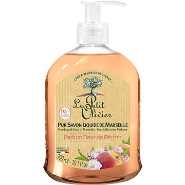 LE PETIT OLIVIER Pure Liquid Soap of Marseille - Peach Flower Perfume 300 ml - Tekuté mýdlo