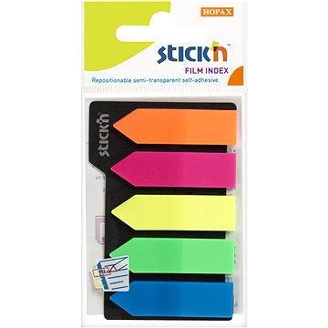 STICK´N 45 x 12 mm, plastové šipky, neonový a pastelový mix, 5 x 25 lístků - Samolepící štítky