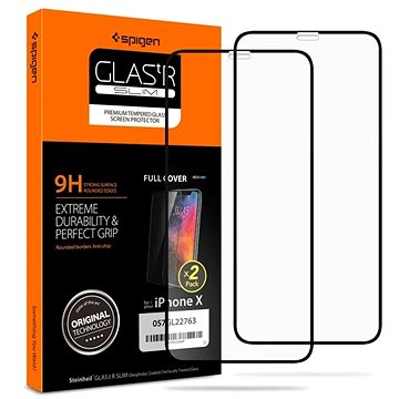 Spigen Glass FC 2 Pack Black iPhone 11 Pro/XS/X - Ochranné sklo