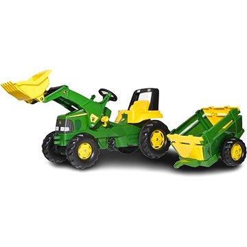 Rolly Toys Šlapací traktor John Deere s nakladačem a vlekem - Šlapací traktor