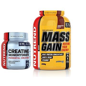 Nutrend Mass Gain, 2250 g, čokoláda a kakao + Creatine Monohydrate, 300 g ZDARMA - Proteinová sada