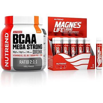 Nutrend BCAA Mega Strong Drink (2:1:1), 400 g, pomeranč + Magneslife, 10x25 ml - Sada