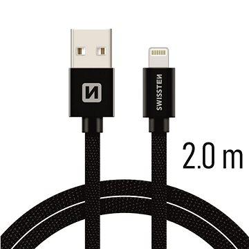 Swissten textilní datový kabel lightning 2m černý - Datový kabel