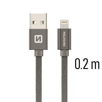 Swissten textilní datový kabel lightning 0.2m šedý - Datový kabel