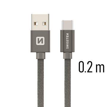 Swissten textilní datový kabel USB-C 0.2m šedý - Datový kabel