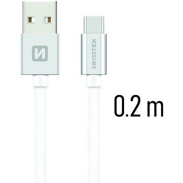 Swissten textilní datový kabel USB-C 0.2m stříbrný - Datový kabel