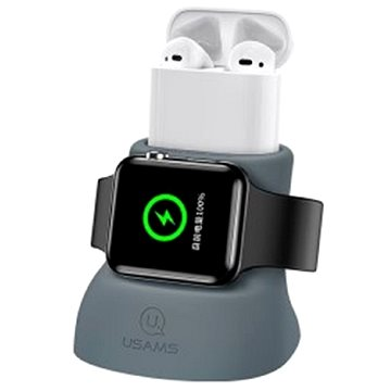 USAMS US-ZJ051 2in1 Silicon Charging Holder For Apple Watch And AirPods grey - Stojánek