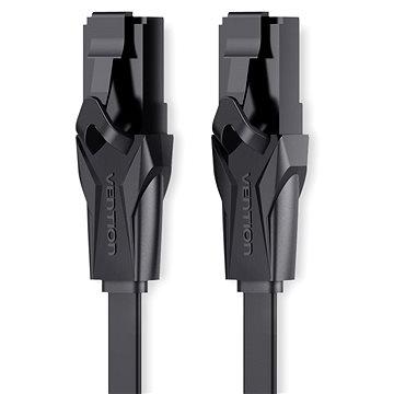 Vention Flat CAT6 UTP Patch Cord Cable 3m Black - Síťový kabel