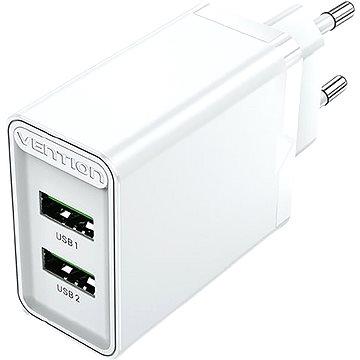 Vention 2-Port USB (A+A) Wall Charger (18W + 18W) White - Nabíječka do sítě