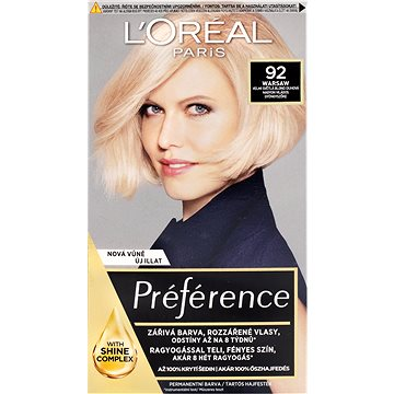 ĽORÉAL PARIS Préférence 92 Světlá blond duhová - Barva na vlasy