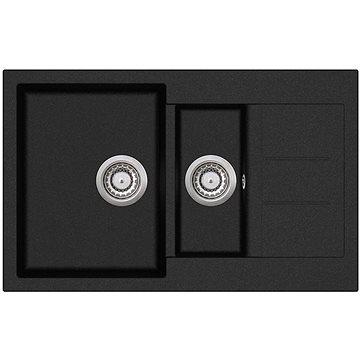 AQUASANITA Tesa 800.15E Black metallic - Granitový dřez