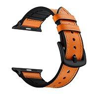 Eternico Apple Watch 42mm / 44mm Leather and Silicone Band oranžový - Řemínek