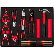 AHProfi Set of Pliers, Punches and Hammers 15 pcs, Drawer with Foam Filling - Workshop Cart Organizer