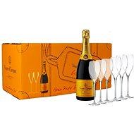 Veuve Clicquot Party Set Brut 6×0,75l 12% + 6x sklo GB - Šampaňské