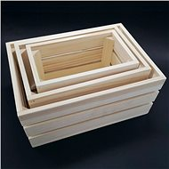 AMADEA Wooden Set of 3 Boxes made of Solid Wood, 34x15x24cm - Storage Box