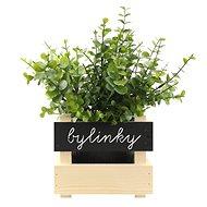 AMADEA Dřevěný obal na květináč s tabulkou pro psaní křídou, 17x15x17 cm