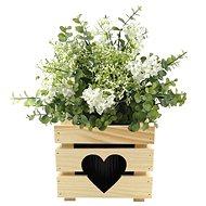 AMADEA Dřevěný obal na květináč se srdcem, 17x17x15cm