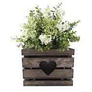 AMADEA Dřevěný obal na květináč se srdcem tmavý, 27x27x20 cm