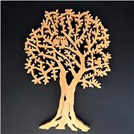 AMADEA Dřevěný strom s veverkou a sovami, masivní dřevo, 40x28 cm - Dekorace