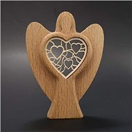 AMADEA Wooden Angel with a Insert - Heart, Solid Wood, Height of 10cm - Decoration