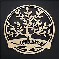 AMADEA Dřevěný strom v kruhu - welcome, průměr 17 cm - Dekorace