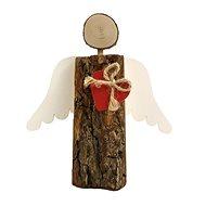 AMADEA Dřevěný anděl s kůrou s bílými křídly a červeným srdcem, masivní dřevo, 19x14,5x3 cm - Dekorace