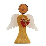 AMADEA Dřevěný anděl s bílými křídly a červeným srdcem, masivní dřevo, 17x14,5x2 cm - Dekorace