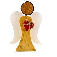 AMADEA Dřevěný anděl s bílými křídly a červeným srdcem, masivní dřevo, 17x13,5x2 cm - Dekorace