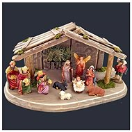 AMADEA Set of Wooden Grey-brown Nativity Scene with Figures, 38cm
