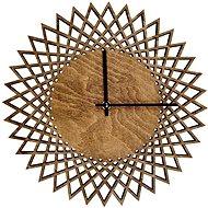 AMADEA Dřevěné hodiny nástěnné ve tvaru slunce tmavé, masivní dřevo, průměr 30 cm - Hodiny